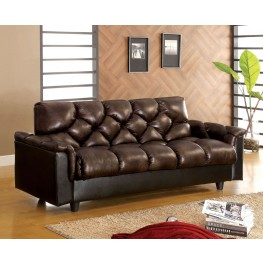 Bowie Brown Leather-Like Futon Storage Sofa