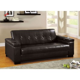 Logan Leatherette Futon Storage Sofa
