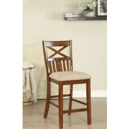 Arlington Brown Cherry and Beige Counter Height Chair Set Of 2