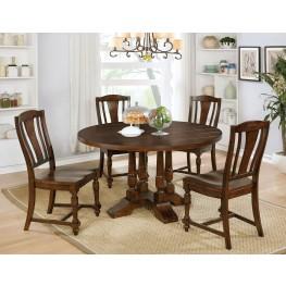 Griselda Brown Cherry Round Dining Room Set