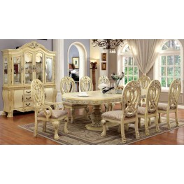 Wyndmere White Oval Extendable Pedestal Dining Room Set