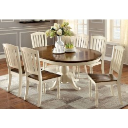 Harrisburg Vintage White and Dark Oak Oval Extendable Dining Room Set
