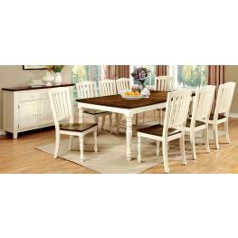 Harrisburg Vintage White and Dark Oak Rectangular Extendable Dining Room Set