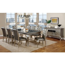 Amina Silver Extendable Rectangular Dining Room Set