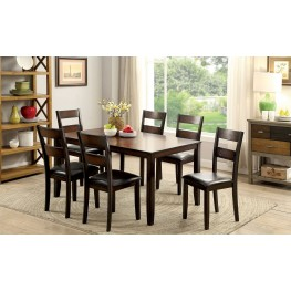 Norah I Brown Cherry 7 Piece Dining Table Set