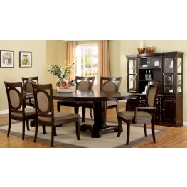Evelyn Walnut Oval Extendable Pedestal Dining Room Set