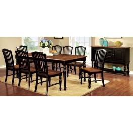 Mayville Black and Antique Oak Rectangular Extendable Leg Dining Room Set