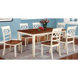 Torrington White and Cherry Rectangular Leg Dining Room Set
