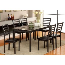 "Colman 60"" Faux Marble Top Rectangular Leg Dining Room Set"