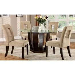 West Palm I Espresso Glass Top Round Pedestal Dining Room Set