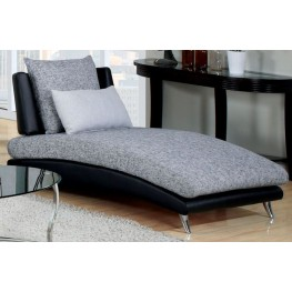 Saillon Fabric and Leatherette Chaise
