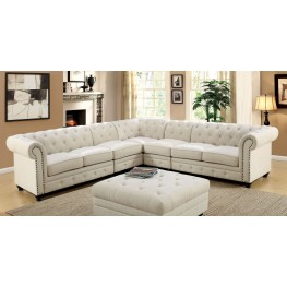 Stanford II Ivory Fabric Large Sectional