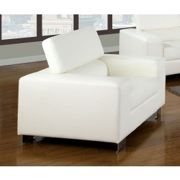 Makri White Bonded Leather Match Chair