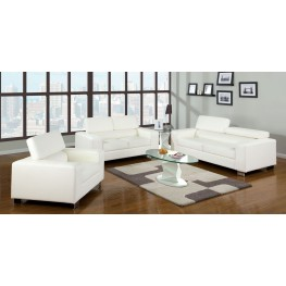 Makri White Bonded Leather Match Living Room Set
