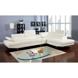 Kemi White Bonded Leather Sectional