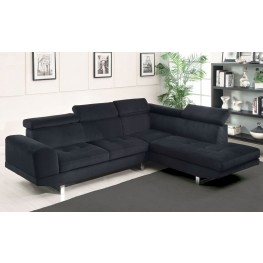 Holt Black Bella Fabric Sectional