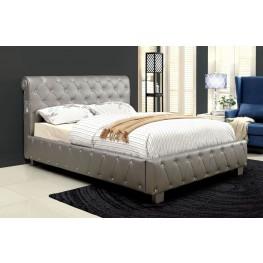 Juilliard Silver Leatherette Queen Bed
