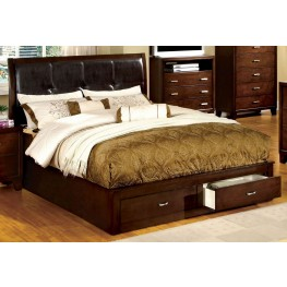 Enrico III Brown Cherry Leatherette Cal. King Storage Bed
