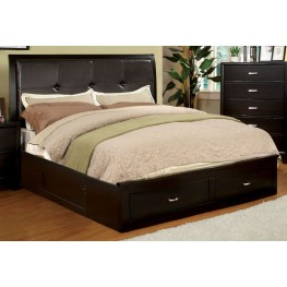 Enrico III Espresso Leatherette Cal. King Storage Bed