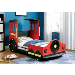 Retro Red Metal Twin Train Bed