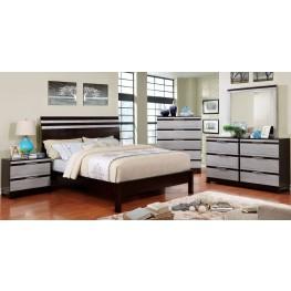Euclid Silver and Espresso Platform Bedroom Set