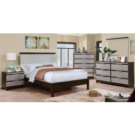 Euclid Silver and Espresso Upholstered Platform Bedroom Set