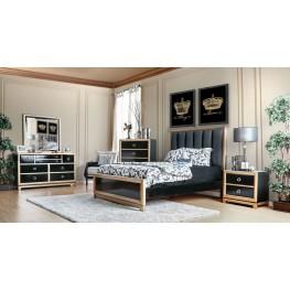 Braunfels Black and Gold Upholstered Panel Bedroom Set