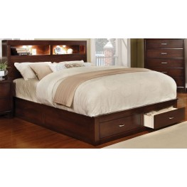 Gerico II Brown Cherry Cal. King Storage Platform Bed
