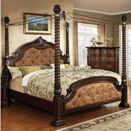 Monte Vista II Dark Brown Leatherette Queen Poster Canopy Bed