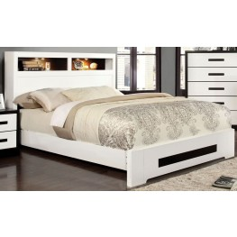 Rutger White and Black Cal. King Headboard Storage Bed
