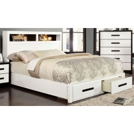 Rutger White and Black Full Storage Bed