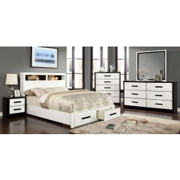 Rutger White and Black Platform Storage Bedroom Set