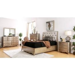 Celine Brushed Gold Upholstered Platform Bedroom Set