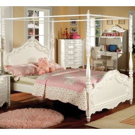 Victoria Pearl White Full Poster Bed