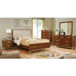 Tychus Dark Oak Upholstered Panel Bedroom Set