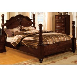 Tuscan II Glossy Dark Pine Queen Poster Bed