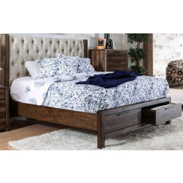 Hutchinson Rustic Natural Tone King Bed Upholstered Panel Storage Bed