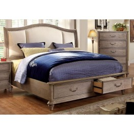 Belgrade I Rustic Natural Tone Upholstered King Platform Storage Bed