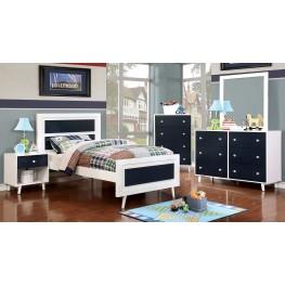 Alivia Youth Blue And White Platform Bedroom Set