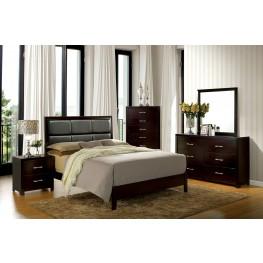 Janine Espresso Upholstered Platform Bedroom Set