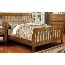 Conrad Rustic Oak Queen Sleigh Bed Paneled Headboard & Footboard