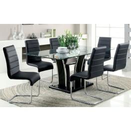 Glenview Black Glass Top Dining Room Set