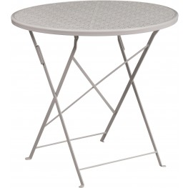 "30"" Round Light Gray Indoor-Outdoor Steel Folding Patio Table"