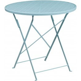 "30"" Round Sky Blue Indoor-Outdoor Steel Folding Patio Table"