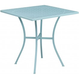 "28"" Square Sky Blue Indoor-Outdoor Steel Patio Table"
