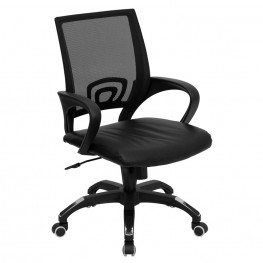 Mid-Back Black Computer Chair with Black Seat