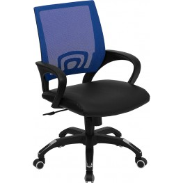Mid-Back Blue Computer Chair with Black Seat