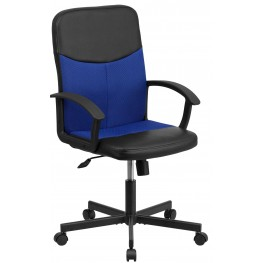 Mid-Back Black Vinyl Task Chair with Blue Inserts