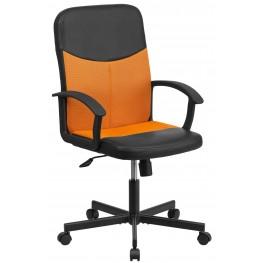 B301E01 Mid-Back Black Vinyl Task Chair with Orange Inserts
