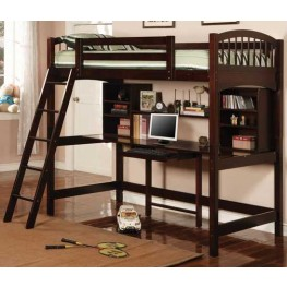 Workstation Loft Bed Cappuccino Finish